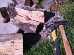 5/5/12 - with an ax and sledge hammer I split a pile of wood.
