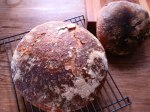 5/5/12 - small loaf of walnut/brown sugar/cinnamon, and the first of two, large loaves of sourdough.