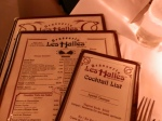 Menus at Les Halles.